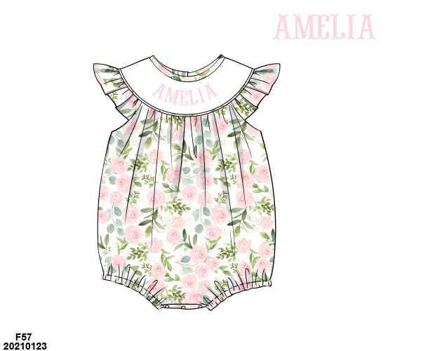 Floral Name Smocked Ruffle Bubble