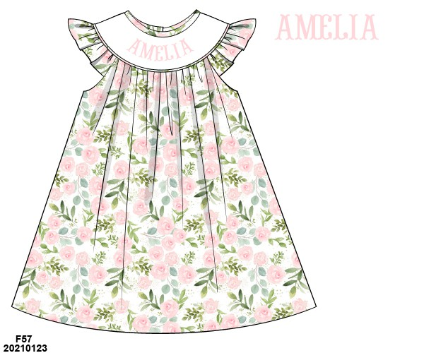 Floral Name Smocked Ruffle Dress
