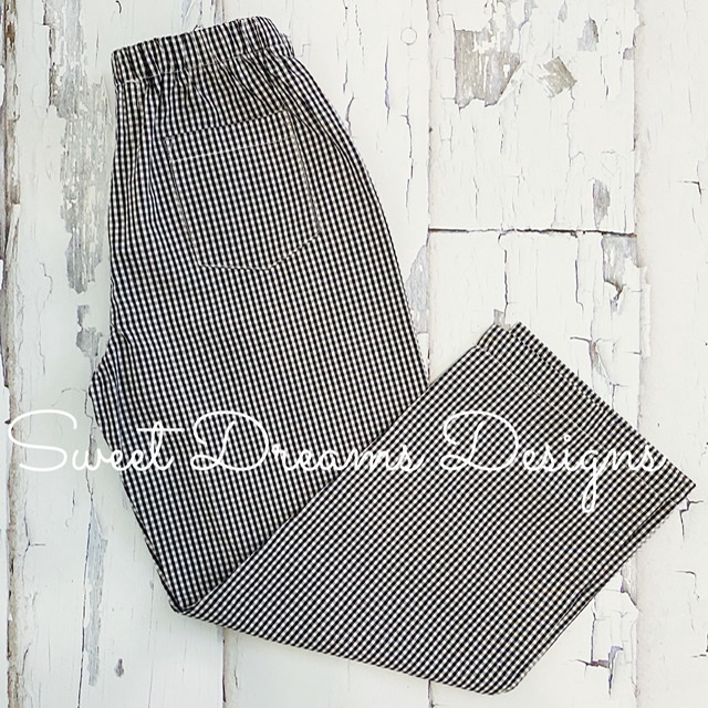 Pants Black Gingham