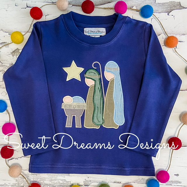 Nativity Scene on Navy Blue Long Sleeve Tee
