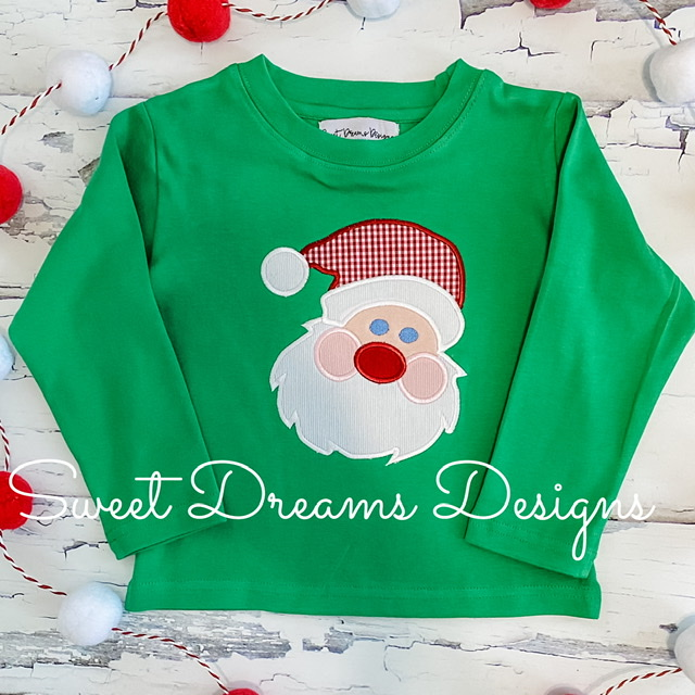 Santa on Kelly Green Long Sleeve Tee
