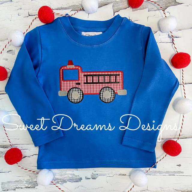 Firetruck on Blue Long Sleeve Tee