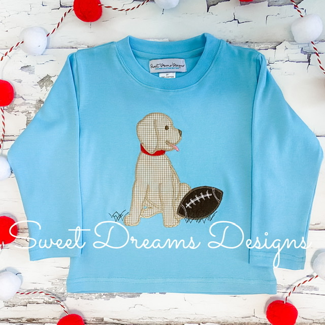 Football Puppy on Sky Blue Long Sleeve Tee